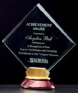 Rosewood Diamond Shaped Acrylic Award