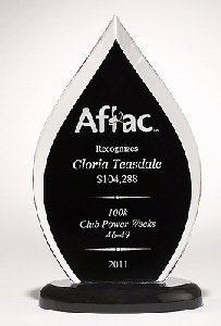 Flame Acrylic Award With Black Silk Backing