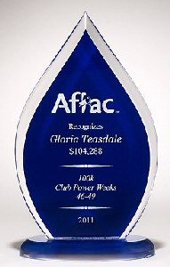 Flame Acrylic Award With Blue Silk Backing