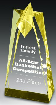 Gold Sculpted Star Tower Award