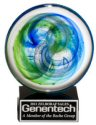 Art Glass Disk Blue Green Accents Award