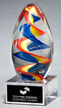 Colorful Egg Shaped Art Glass Award