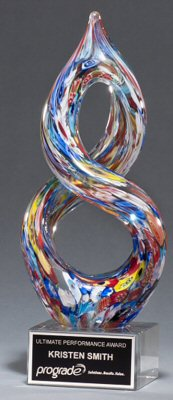Helix Shaped Multi Color Art Glass Award