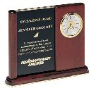 Rosewood Stained Piano Finish Desk Clock with Engraved Plate