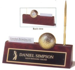 Golf Ball Clock Rosewood Desk Plate