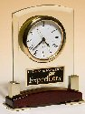 Beveled Glass Desktop Rosewood Piano Finish Clock