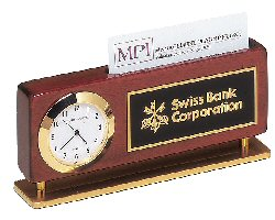 Combination Clock and Business Card Desk Set