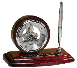 Desktop Skeleton Clock with Pen on a Rosewood Piano Finish Case