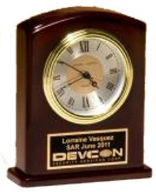 Rosewood Finish Three Hand Movement Award Clock
