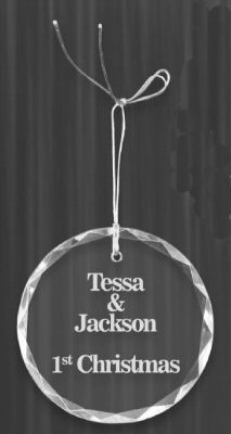 Engravable Crystal Circle Ornament