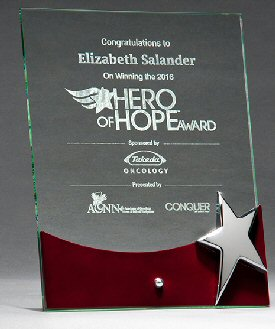 Glass Award with Rosewood Accent by Silver Star