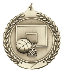 Economy Wreath Basketball Medal