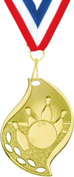 Flame Shape Bowling Medal