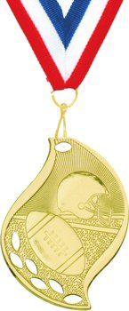 Flame Shape Football Medal