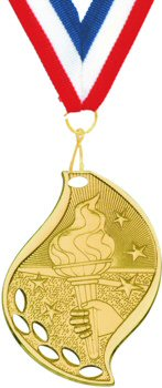 Flame Shape Victory Torch Medal