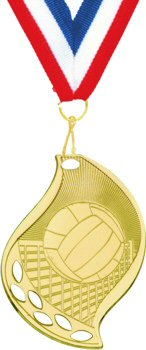 Flame Shape Volleyball Medal