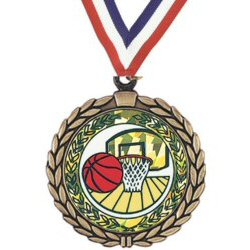 Wreath Basketball Insert Medal