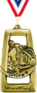Star Blast Dog Tag Wrestling Medal