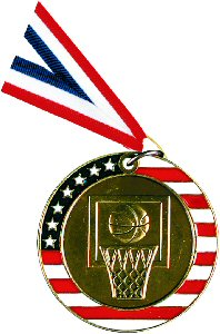 Stars and Stripes Basketball Medal