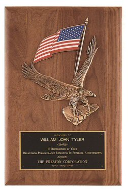 American Eagle Flag Walnut Plaque