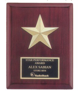 Gabled Points Star Rosewood Plaque