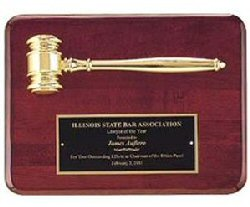 Rosewood Metal Gavel  Plaque