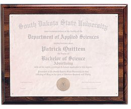 Cherry Finish Routed Certificate Plaque