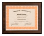 Cherry Finish Slide-In Certificate Plaque