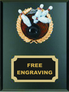 High Relief  Colored Bowling Emblem Plaque