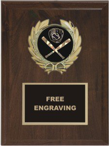 Wreath Baseball Insert Emblem Plaque