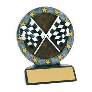 All Star Racing Crossed Flags Resin Award