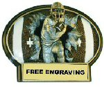 Burst Thru Oval Resin Football Plaque