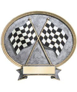 Auto Racing Trophies on Auto Racing Oval Resin Plate