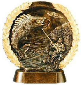 Fishing Bronze Resin Plate