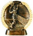 Male Tennis Bronze Resin Plate