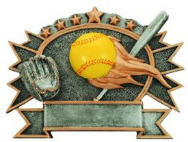 Softball 3-D Shield Plaque