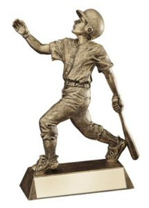 Male Baseball Gold Finish Resin Trophy