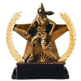 Star and Wreath Bronze Finish Female Basketball Award