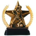 Star and Wreath Bronze Finish Female Soccer Award