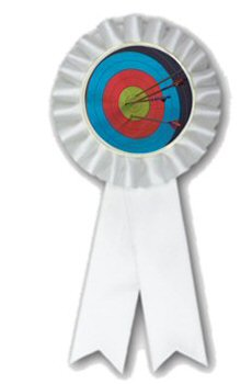 White Rosette Archery Ribbon