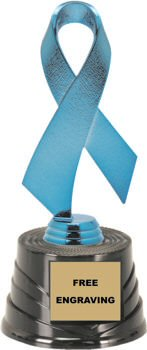 Blue Awareness Ribbon on a Round Base Trophy
