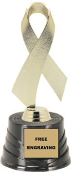Gold Awareness Ribbon on a Round Base Trophy