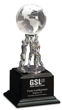 Clear Crystal Globe Teamwork Award
