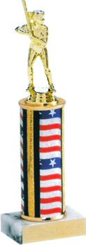 Flag Series Round Column Softball Trophy