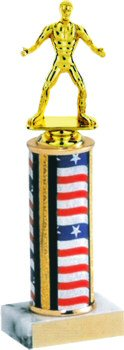 Flag Series Round Column Wrestling Trophy