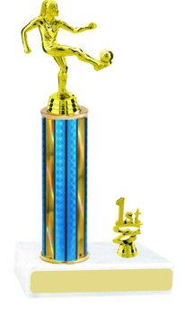 Prism Hologram Round Column Soccer Trophies with Trim