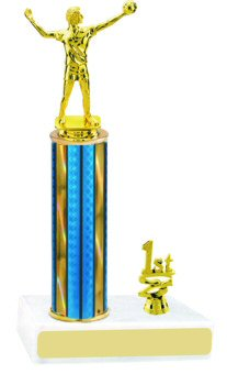 Prism Hologram Round Column Volleyball Trophy with Trim