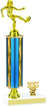 Prism Round Column Soccer Trophy with Pedestal and Trim