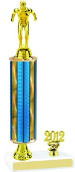 Prism Round Column Swim Trophy with Pedestal and Trim