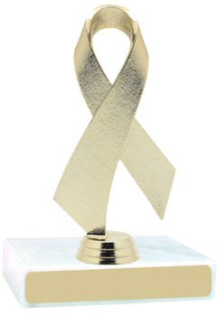 Gold Awareness Ribbon on a Marble Base